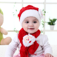 2017 New Arrial Christmas Gift Whole Plush Christmas Hat And Scarf Set for baby