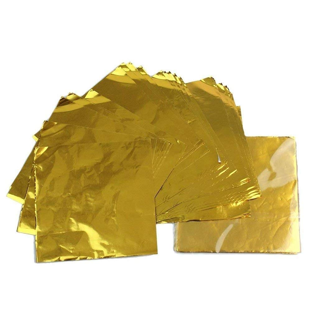 Aluminium Foil Candy Wrappers Chocolate Wrappers Sugar Tinfoil Wraps Paper For DIY Candies And Chocolate Packaging Or Decoration By Party/Wedding/Birthday,100pcs Square Sheets, 4 x 4 inches (Gold)