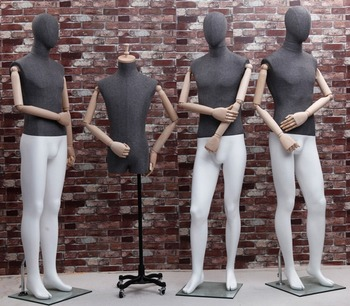 Good quality FRP full body male mannequin with linen wrapped