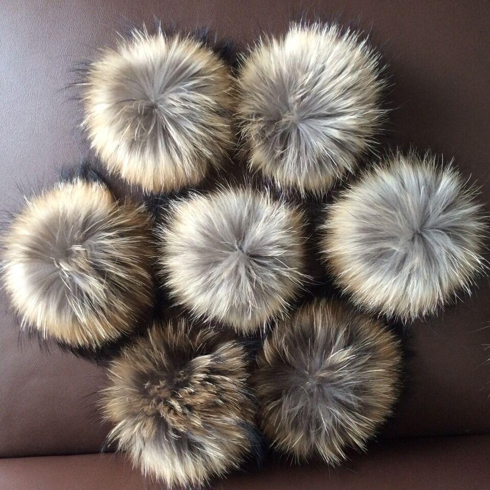 New Arrival Nude Fur Pom Poms Hot Sale 14-15cm Large Raccoon Fur Balls