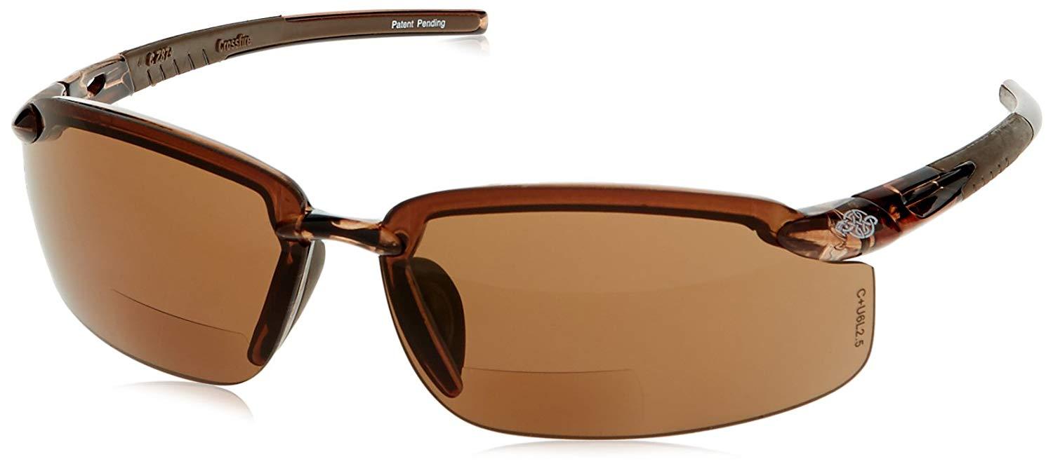 6ba359b089 CrossFire Crossfire Safety Glasses Es5 1.5 Diopter Brown Frame Brown Mirror  Lens