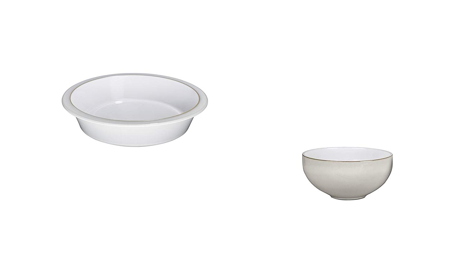 Denby Natural Canvas Round Pie Dish and Ramen/Large Noodle Bowl, Set of 2