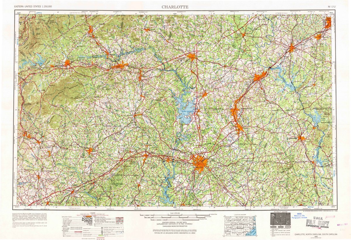 1953 Charlotte, NC | USGS Historical Topographic Map | 24in x 36in Fine Art Print on Heavyweight Matte Paper