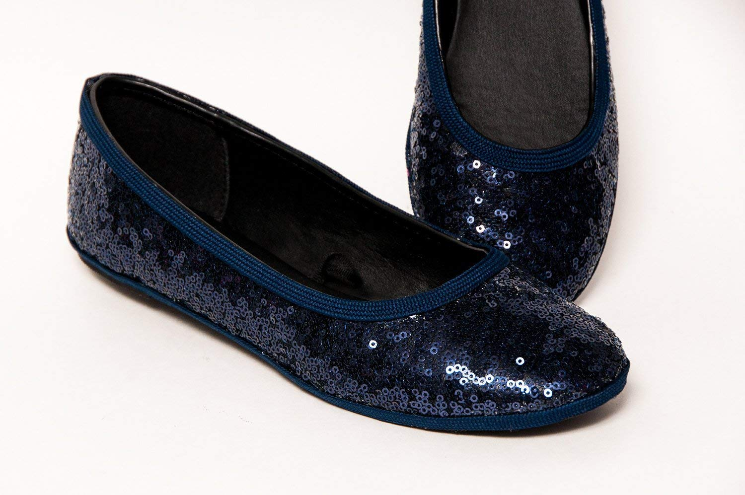 78ef3e1649c90 Get Quotations · Starlight Sequin Navy Blue Ballet Flats Slippers Shoes