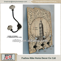 Wood wall plaque with hooks , Vntage wall hooks , Unique wall decoration