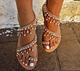 YX10T631 2018 New Arrival flat heel sandal for women with a string of beads pearl