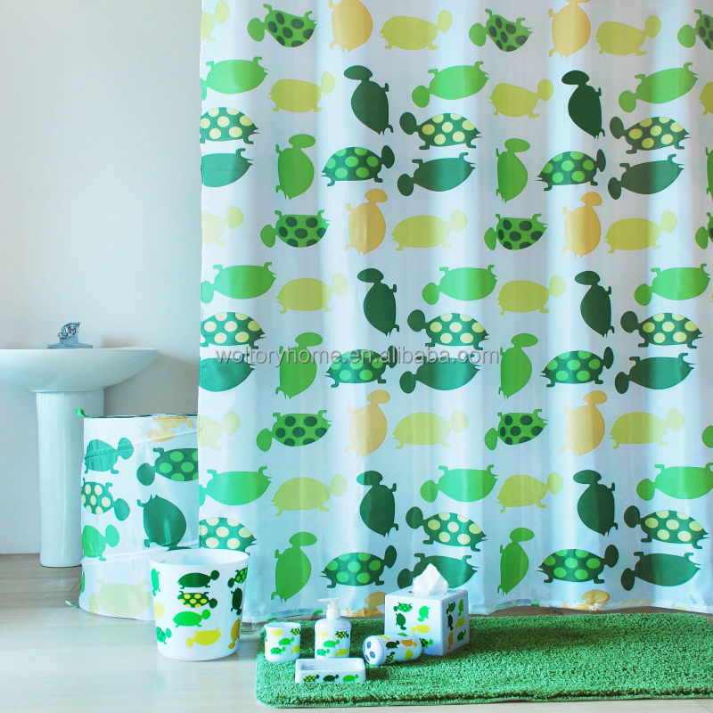 Wholesale Bathroom Set In Match Design Turtle Green Bath Shower Curtain Bathmat
