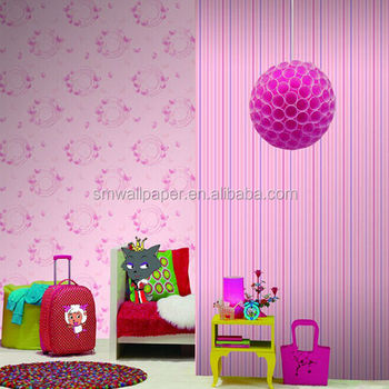 Funny Cartoon Kids Wallcoverings Children Pink Color Cute Barbie Doll Wallpapers