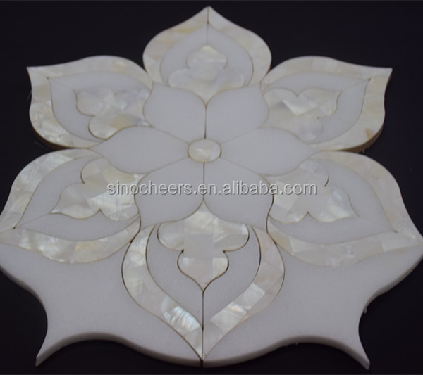 Water jet White Marble Flower Pattern Mosaic Tile For Interior Decoration