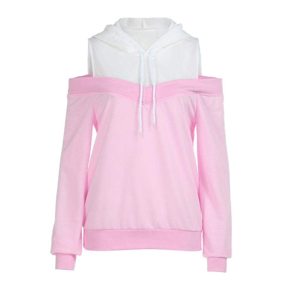 Womens Patchwork Strappy Sweatshirt, Balakie Long Sleeve Hoodie Casual Pullover
