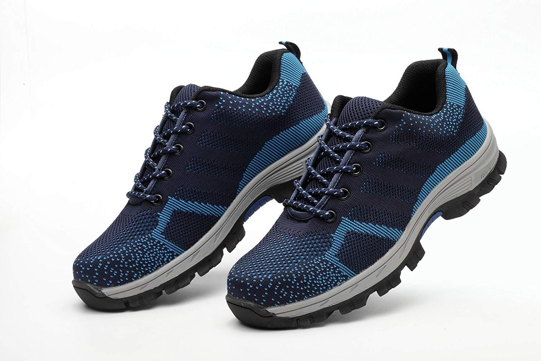 Safety Shoes For Men Steel Toe Unisex Lightweight Work Shoes Non-Slip Industrial & Construction Security Shoe (EU37/6 B(M) US Women/4.5 D(M) US Men, Blue)