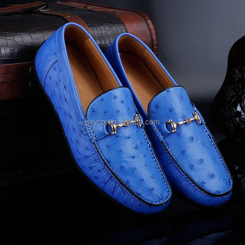 ostrich Heyco skin loafers flat mens soft blue for wholesale quality high shoes ladies OrwBrt