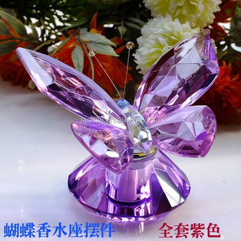 Etched Blue Crystal Butterfly Gifts For American Wedding Souvenirs