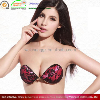 Hot Fashion Women Red Lace Self Adhesive Strapless Backless Bra ...