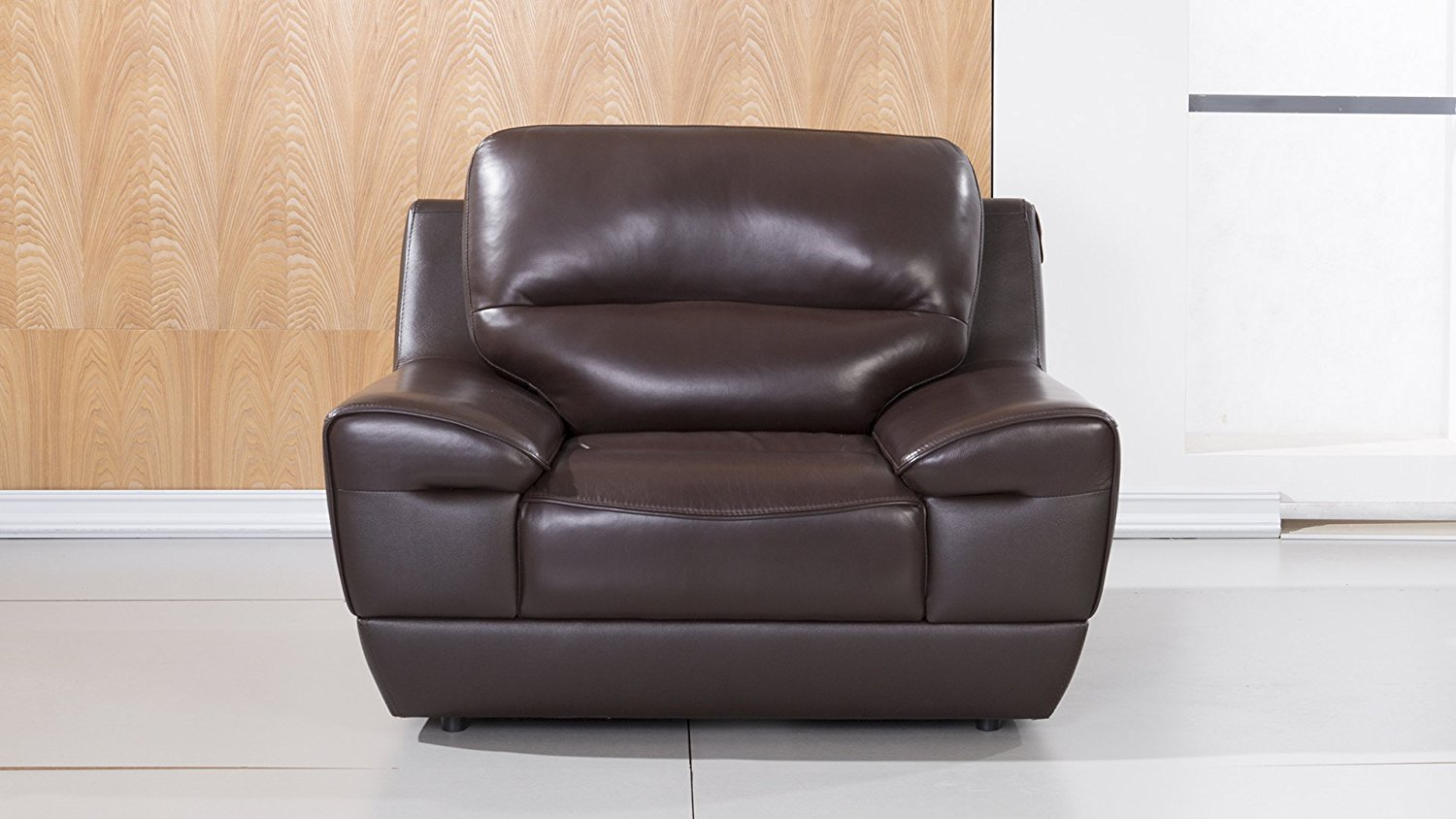 American Eagle Furniture Stratton Collection Italian Grain Leather Living Room Armchair with Pillow Top Armrests, Dark Brown