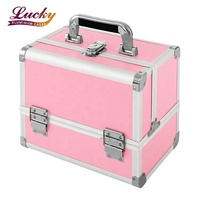 Makeup Train Case Professional Cosmetic Case 10'' Makeup Storage Organiser Box with 3 Trays, Mirror, Brush Holder - Pink