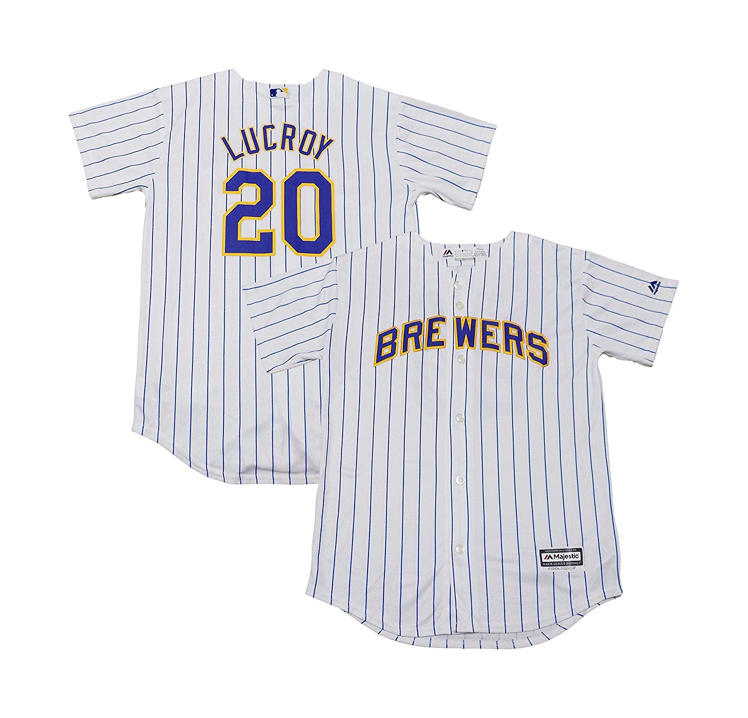 9ce9d4a59eb Get Quotations · Jonathan Lucroy Milwaukee Brewers White Stripe Youth Cool  Base Alternate Replica Jersey