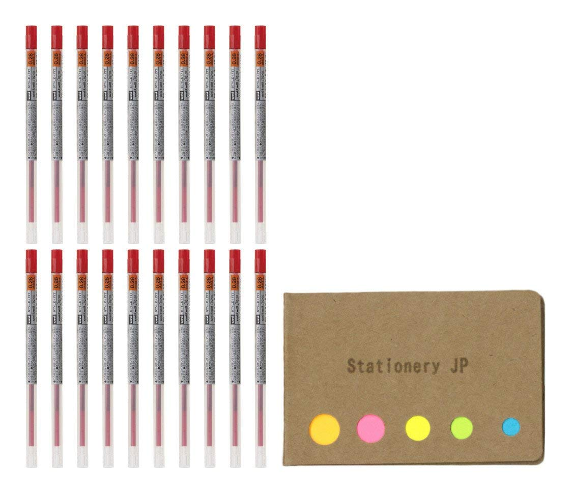 Uni-ball Signo Gel Ink Refills for Uni Style Fit Gel Multi Pen 0.28mm Red Ink, 20-pack, Sticky Notes Value Set
