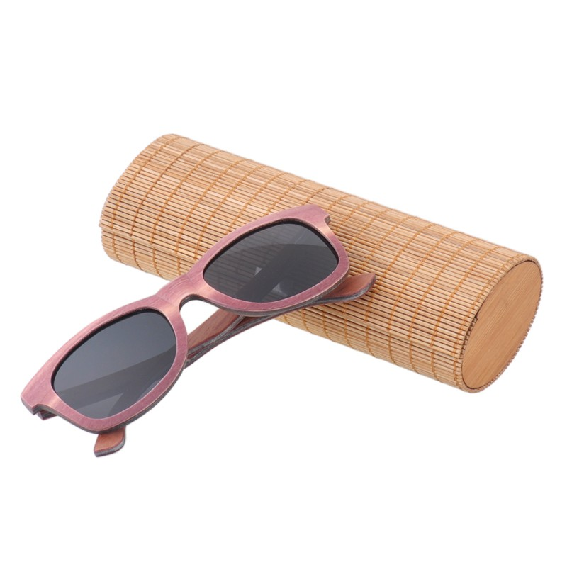 AW575 High Quality Durable Horned Rims Shades Laminate Purple Ebony Wooden Sunglasses