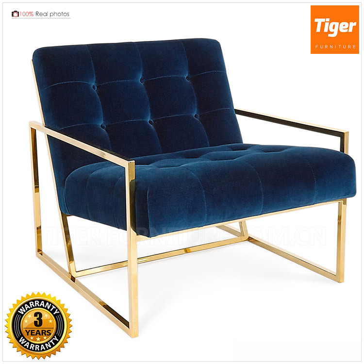 Modern Gold Polish Box Chair Thin Frame Lounge From Foshan