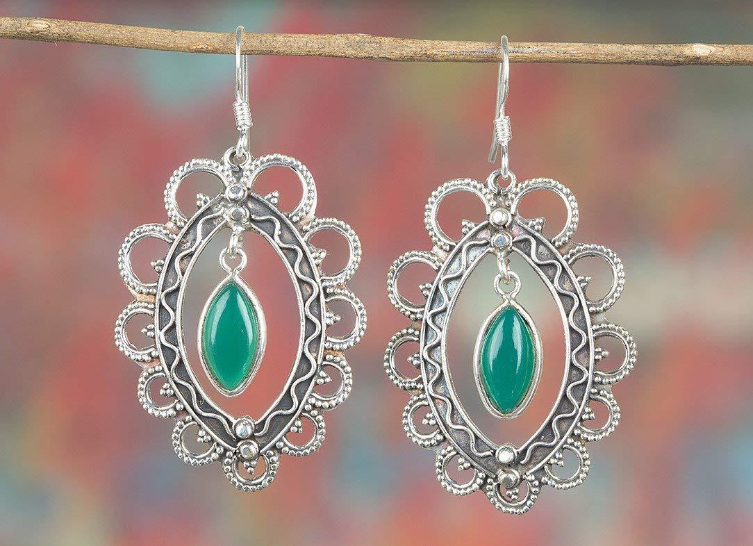 Green Onyx Earrings, 925 Sterling Silver, Antique Earrings, December Birthstone, 7th Anniversary Earrings, Relationship Earrings, Green Jewelry, Jewelry Gift, Floral Shape Earrings, Healing Earrings