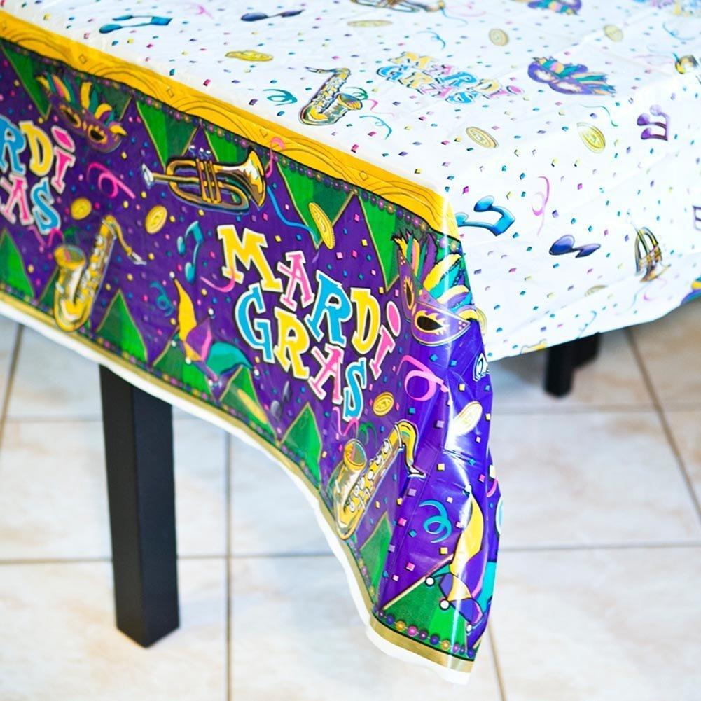 "Mardi Gras Plastic Tablecloth, 84"" x 54"""