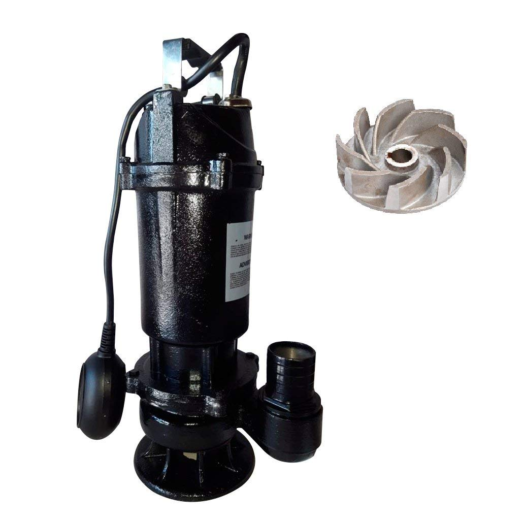SCHRAIBERPUMP 1hp 115v Heavy Duty Sewage Pump with Float Switch, 100% Cast Iron, 87gpm, 29'lift, cast iron open vortex impellers, MODEL SEW-101M with 30ft of wire
