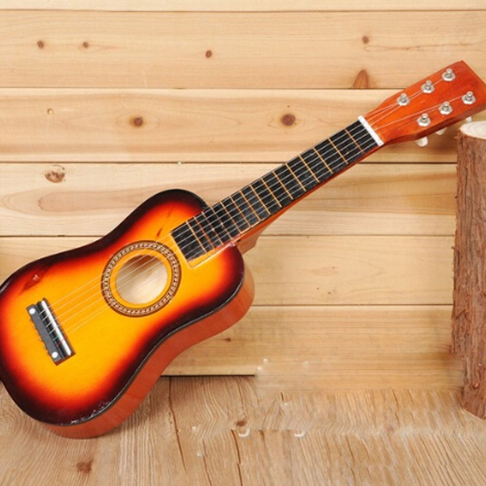"""25"""" Beginners Practice Acoustic Mini Guitar 6 String Children Music Toys Musical Instrument Toy Yellow for Kids"""