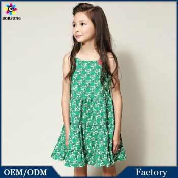 New Model Apple Green Girls Casual Dresses Spaghetti Strap Birds ...