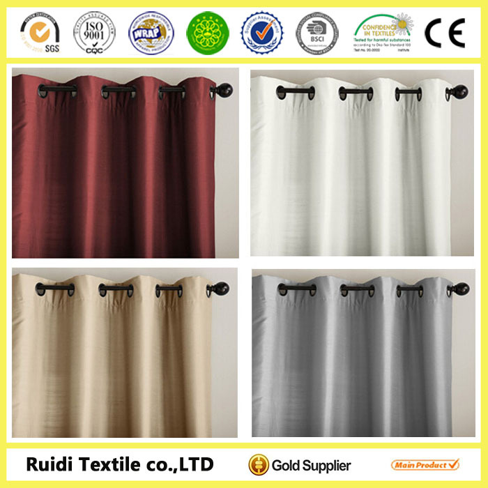 100% Polyester Top Quality Plain Faux Silk Eyelet Curtain