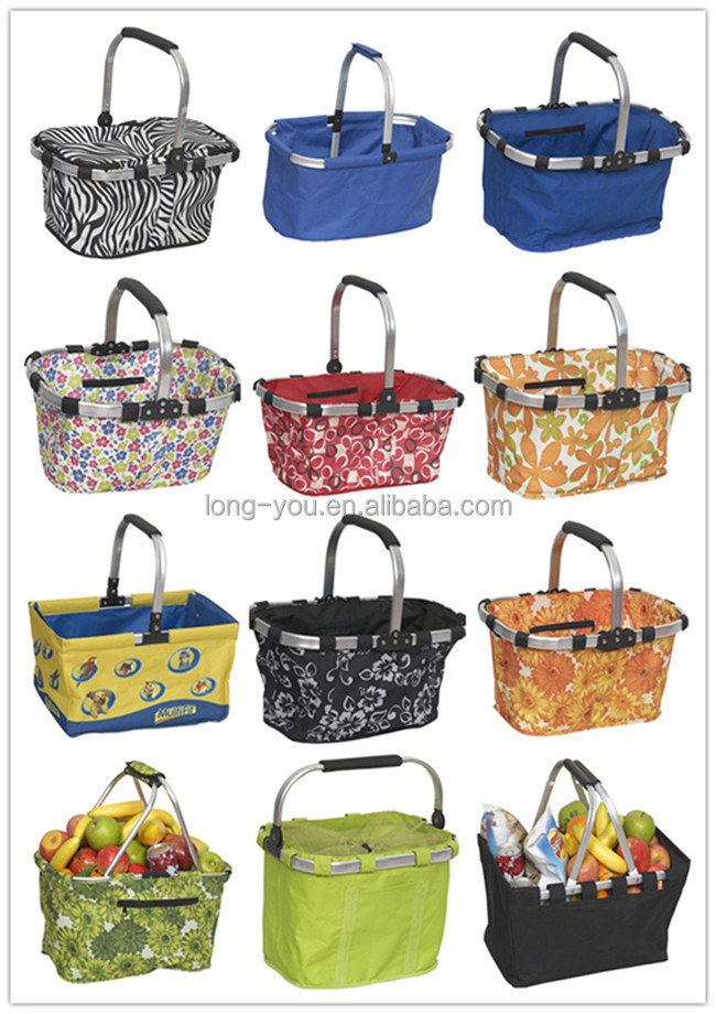 Folding Cloth Supermarket Shopping Basket Collapsible Carry ...