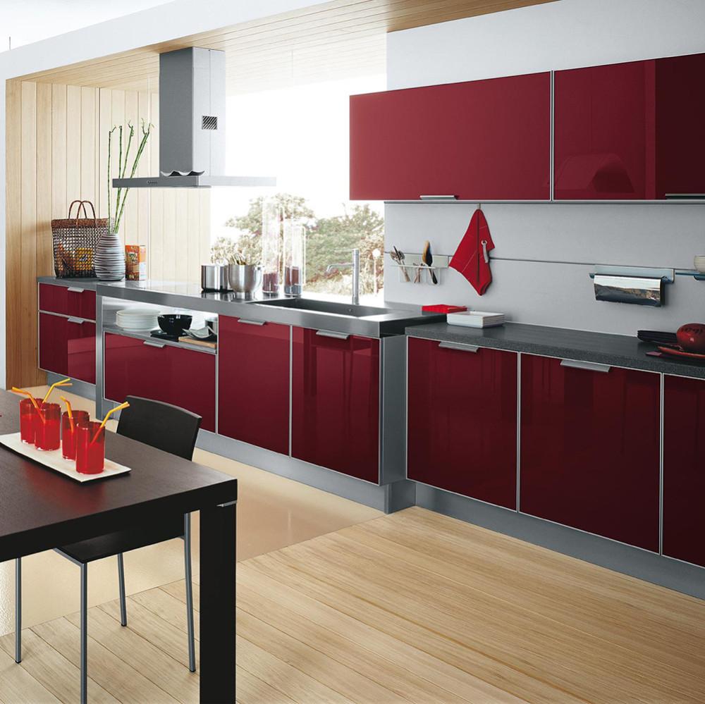 High Gloss Red Uv Kitchen Cabinet Doors
