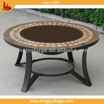 30u0026quot; Steel Center Lid Fire Pit Table/round Tile Table Firepit