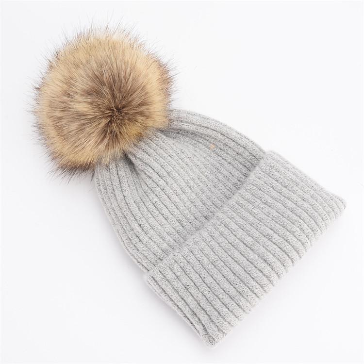 8804e96cb3 2019 Fashion Women Fur Pompom Caps Winter Fur Pompon Knitted Caps ...