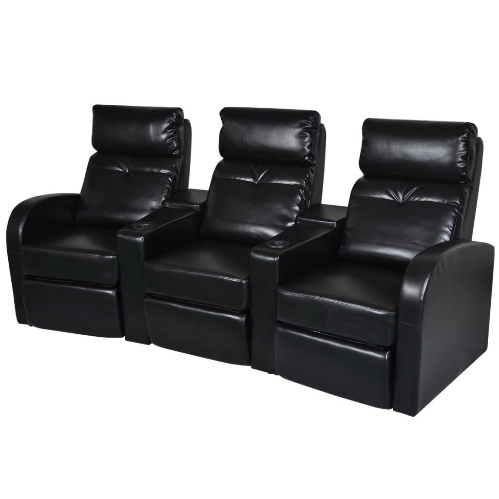 3-seat Black Artificial Leather Home Cinema Recliner Reclining Sofa