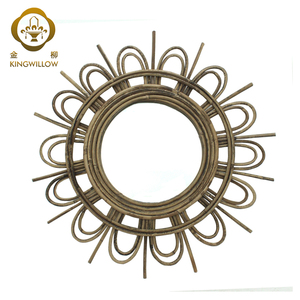 Innovative handmade craft vines weave decorative with mirror for home decorations