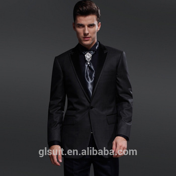 Men\'s Wedding Suit 70% Wool One Buttons Dark Grey Slim Fit Tuxedos ...