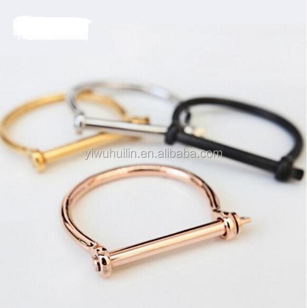 MS003 Yiwu Huilin Jewelry Stainless Steel Screw and Shackle Cuff Bangle Bracelet Horseshoe Letter D Shape Bracelet