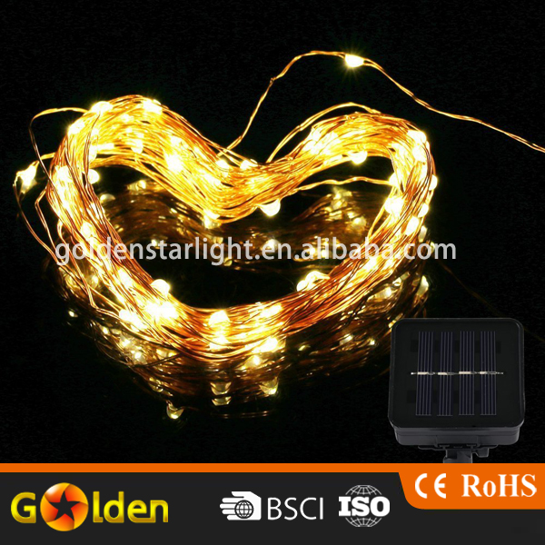 100 LED Warm White Lighitng Solar String Light Copper Wire High Efficiency Fairy Lamp