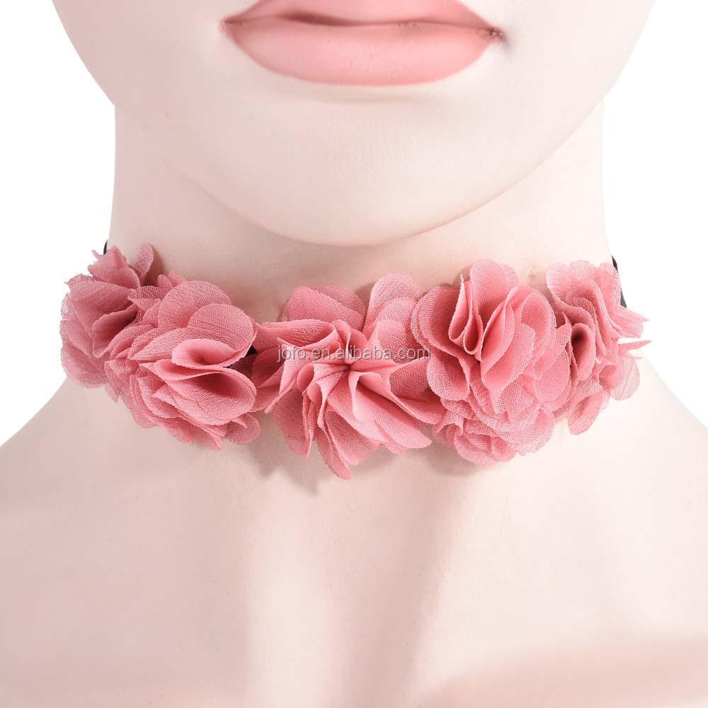 3yk 007 Newest Hawaii Flower Design Hawaiian Flower Rose Lace Choker