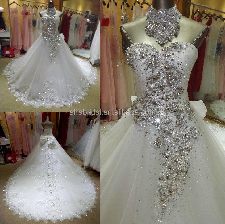 Sw292 Heavy Beading Crystal Bling Bridal Wedding Dresses Arabic