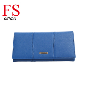 ladies fashion style good quality saffiano pattern 3 fold pu royal blue wallet for women