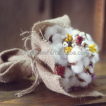 Dried Natural Cotton Boll Real Sea Lavender And Carnation Flower