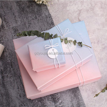 Custom Holiday Birthday Gift Box Packaging Gradient Color Cardboard Box With Lid Buy Gift Box Packaging Paper Gift Box Gift Box Product On