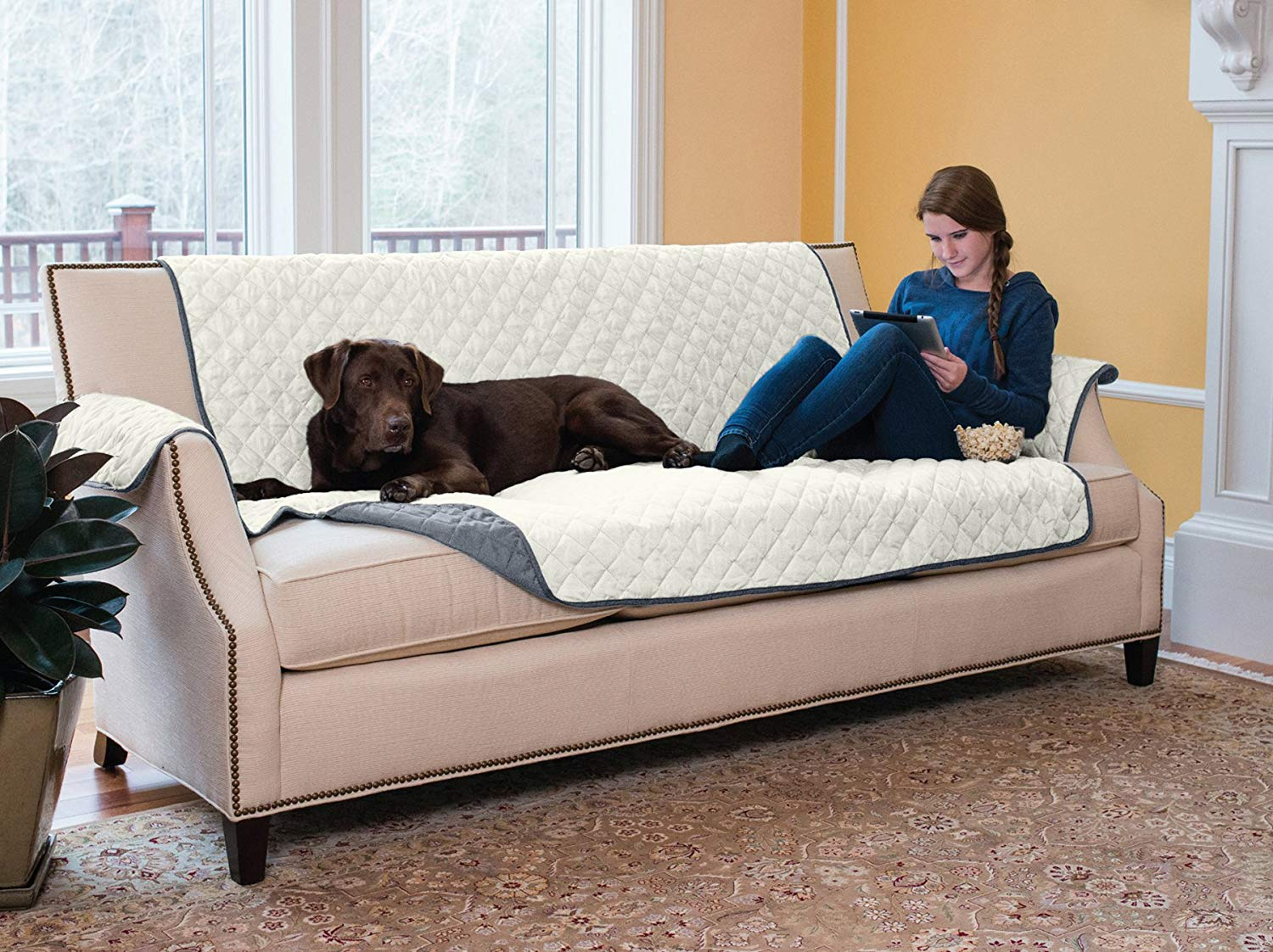 Deluxe Reversible Quilted Furniture Sofa Protector Fabric pets