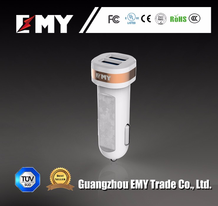 Emy new arrival iq technology 12 24v car charger with data cable