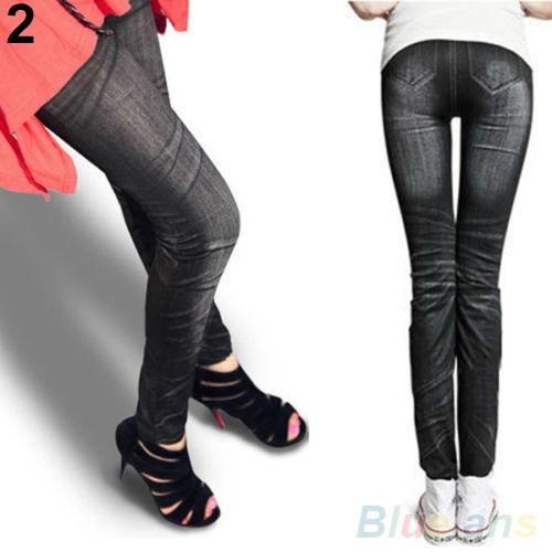 90 см женщин отпечатано имитационные джинсы тощий эластичный Jeggings брюки леггинсы 4D6X
