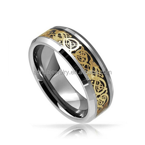 Sale Mens Tungsten Celtic Dragon Gold Plated Black Inlay Wedding