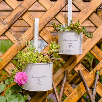 Hanging Flower Pots Large Metal Bucket Holder Garden Balcony Planter