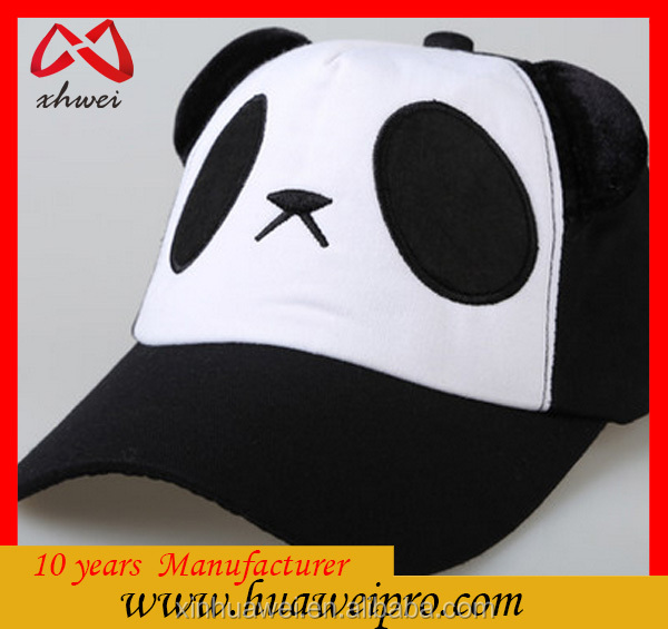 Made in china wholesale Cute Panda Head Plush Animal mesh baseball Hats